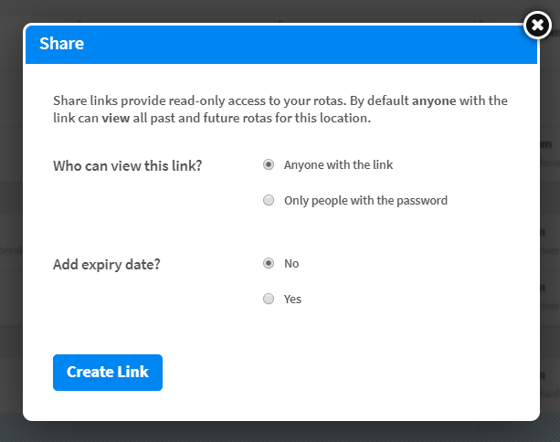 Secure share link dialog in RotaCloud