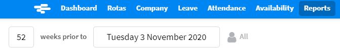 screenshot of RotaCloud Bradford Factor report settings