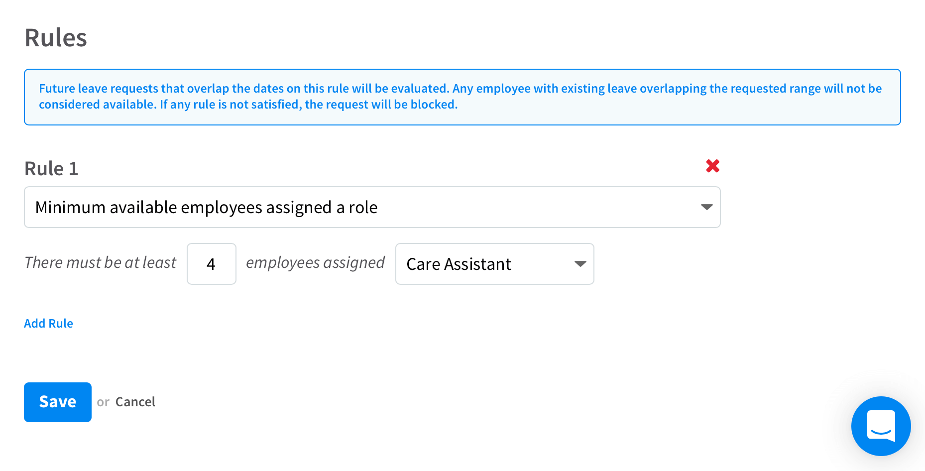 A leave request rule screen in RotaCloud staff scheduling software