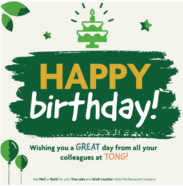 A birthday message for Tong Garden Centre employees with cake and balloon icons