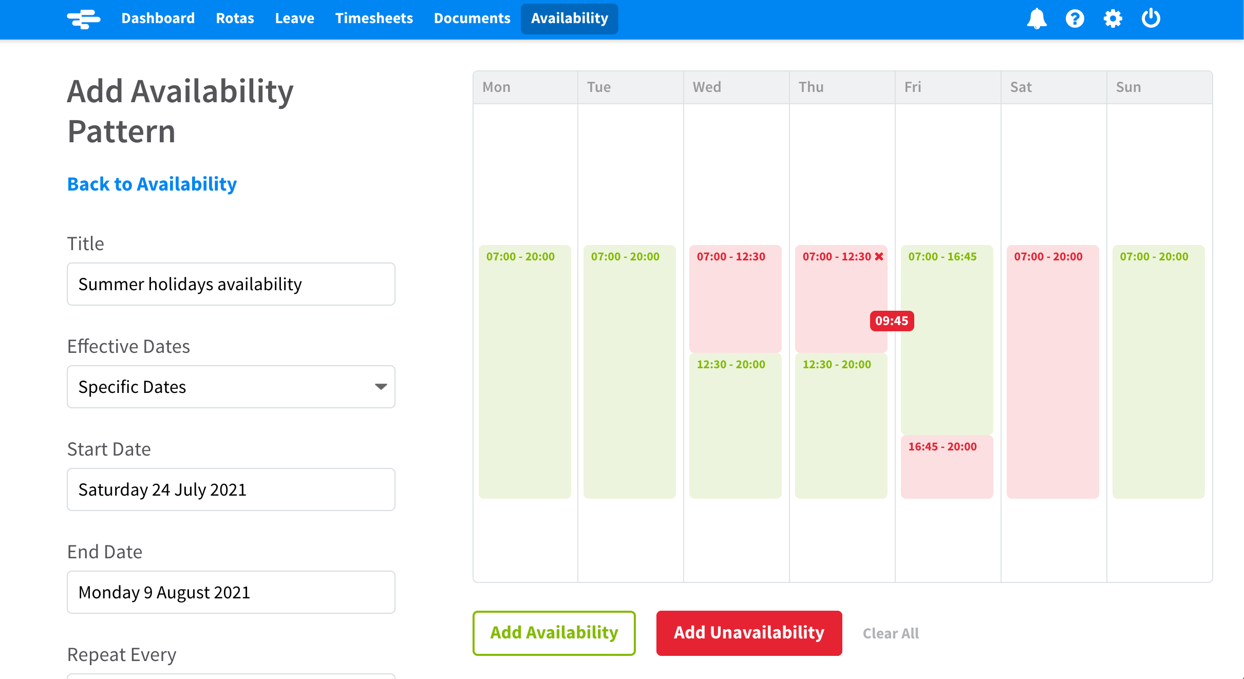 Screenshot of RotaCloud staff scheduling software with employee marking their availability in green and unavailability in red