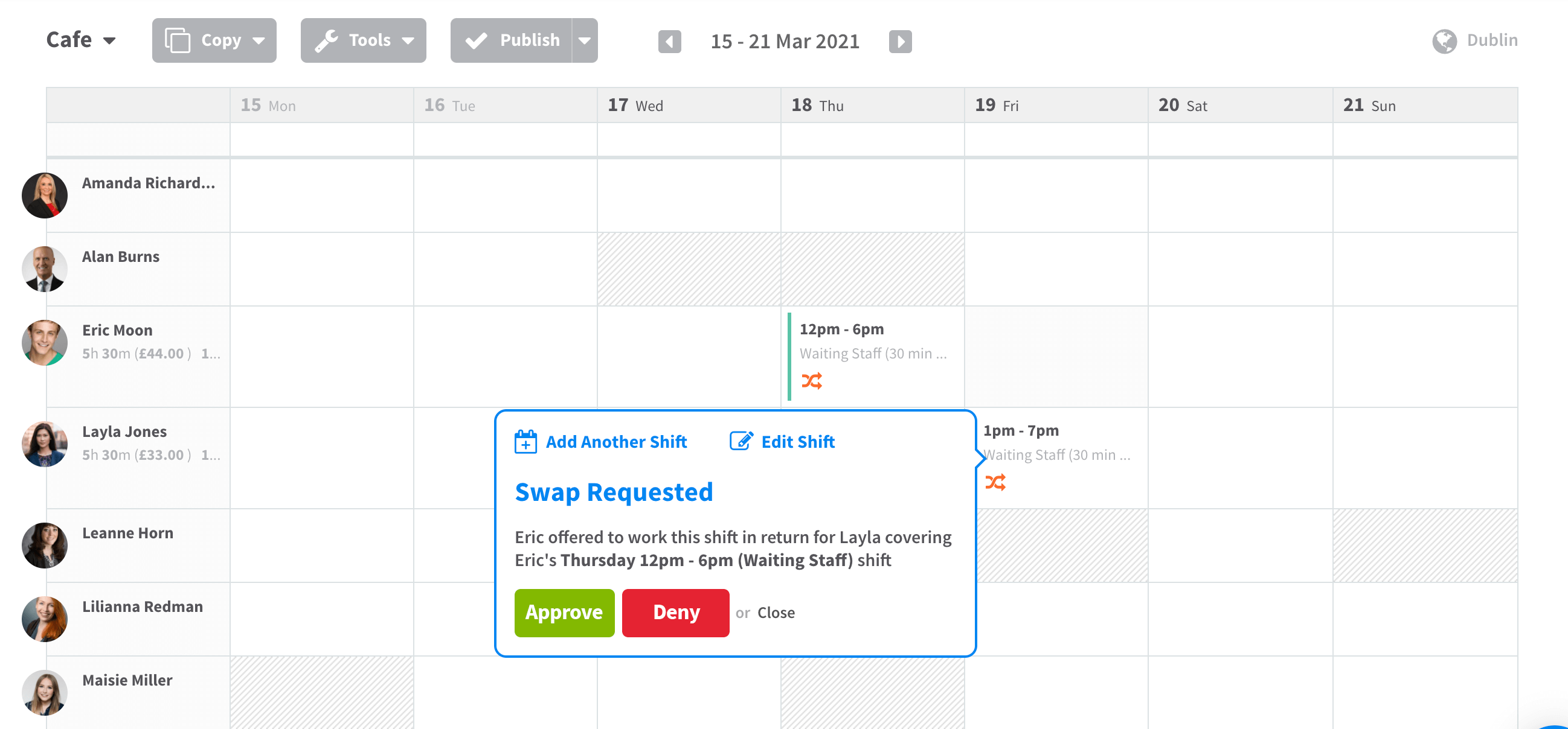 Screenshot of RotaCloud staff scheduling software: a swap request is being consider by a manager