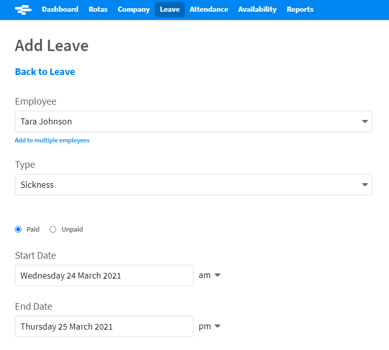 Screenshot of adding sickness absence in RotaCloud
