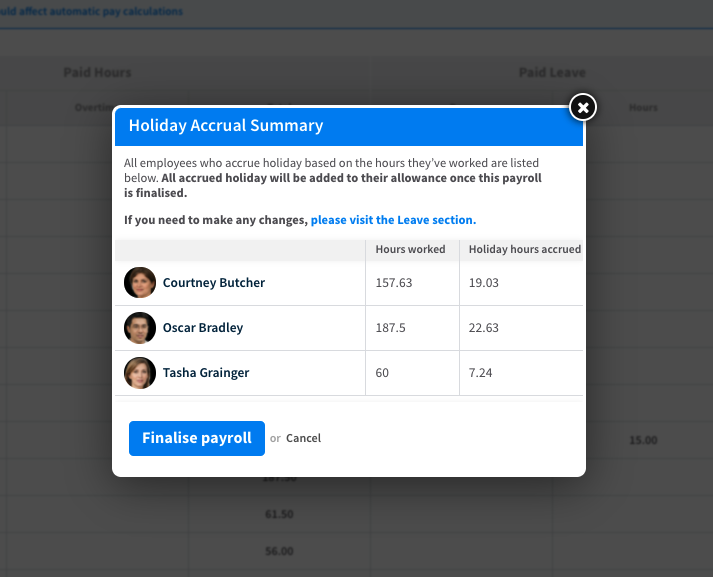 Screenshot showing holiday accrual summary in RotaCloud staff scheduling software