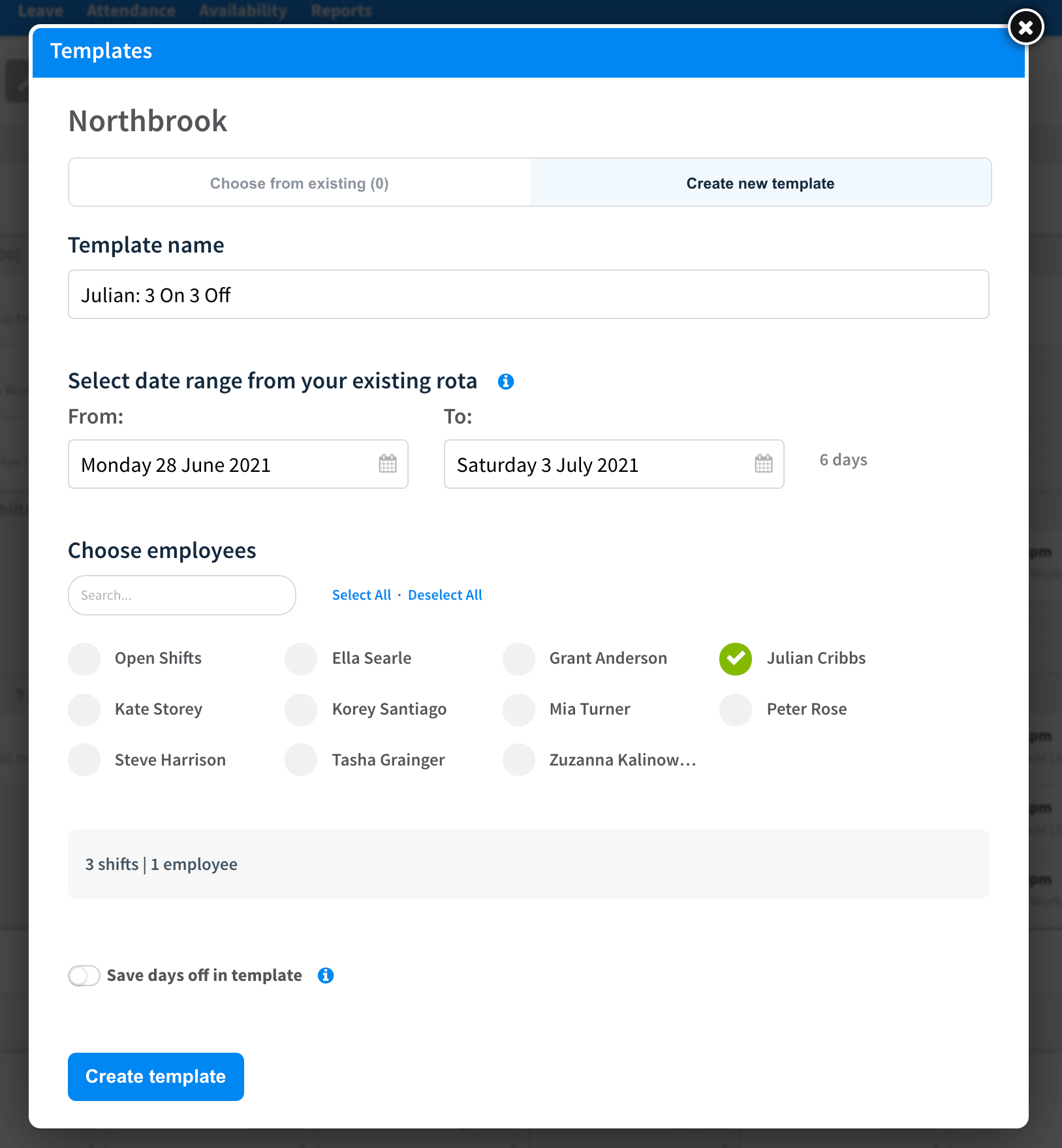 A template creation menu in RotaCloud, showing fields for template name, date range, lists of employees